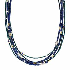 Silpada Into The Blue Necklace N3252 Lapis Quartzite Silver Brass 5 Strand NEW!