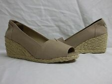Ralph Lauren 9 M Claudia Beige Canvas Open Toe Wedges New Womens Shoes NWOB