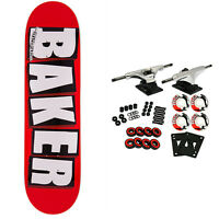 BAKER Skateboard Complete LOGO WHITE 8.0' Raw Trucks White Wheels