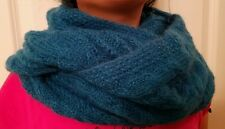 hand-knitted mohair cowl infinity scarf(peacock blue)