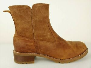 Timberland Women's Biker Wenham Mid Boot Size 8.5 Side Zip Brown Leather A11PT