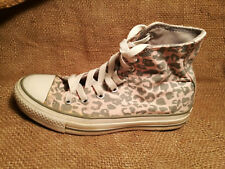 Converse High Tops Sneakers All Stars Youth 3 1/2 Womens 5 1/2 Leopard Pink Gray