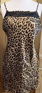 Vintage Secret Treasures Leopard Print Shiny Chemise Nightgown Size Large