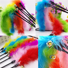 Funny Cat Kitten Pet Wire Chaser Wand Toys Teaser Turkey Feather Activity Toy