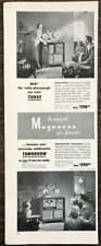 1949 Magnavox Radio Phonograph Magnascope Television Print Ad Families Enjoy