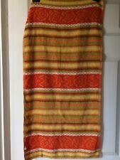 "vintage hand towel,18""""x 34""orange,white,yellow,brown,stripes & floral,cotton"