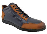 $230 OVATTO Blue Brown Leather Casual Men Sneakers Shoes NEW COLLECTION