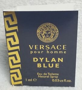 Versace Pour Homme DYLAN BLUE Eau De Toilette Spray Sample/Vial .03 oz/1mL New