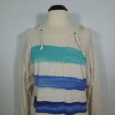 DKNY Jeans Hoodie Sweatshirt, Women's Lounge, Beige Striped Front, size M