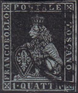 PP235 Toscana 1q. nero su carta azzurro filigrana corona (1a) usato varietà