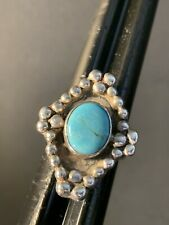 Size 6 1/2 w/ Beaded Accents Vintage Navajo Sterling Silver Oval Turquoise Ring