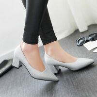 Womens Slip On Sequins Bling Pumps Solid Block High Heels Party Shoes Plus Size