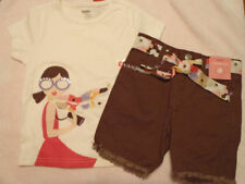 GYMBOREE Girls Size 4 Glamour Safari Brown Shorts Shirt Outfit NWT