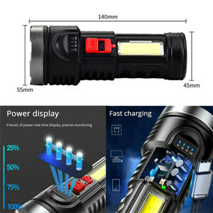 Super Bright LED Torch Tactical Flashlight USB Rechargeable + Battery Four Modes
