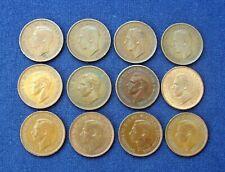 Twelve George VI Farthing Coins 1938-1947