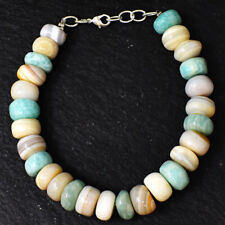 195.00 Cts Natural 7 Inches Long Agate & Amazonite Beads Bracelet NK 16E187