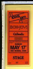 Iowa Jam 1987 Cinderella Laminated Back Stage Pass; Bon Jovi; Des Moines
