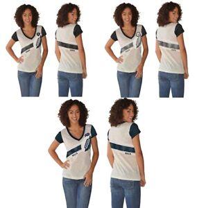 NFL Women's Cream Zone Coverage Distressed Logo Deep V-Neck T-Shirt