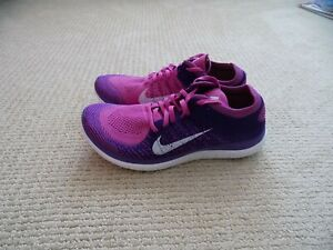 NEW WOMENS 9 NIKE FREE 4.0 FLYKNIT RUNNING SHOES PURPLE PINK WHITE 631050 615