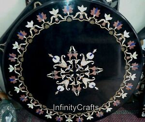 48 Inches Hallway Table Marble Dining Table Top Inlay with Cottage Crafts Work