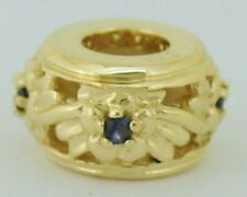 Bd047- Genuine 9ct Yellow Gold Natural Sapphire Blossom Bead REAL Gold REAL Gems