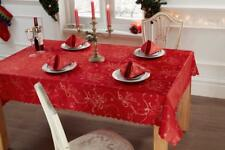 Jacquard Woven Red Christmas Tablecloth with Gold Threads in 4 Sizes