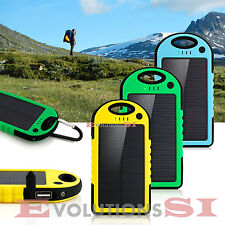 POWER BANK SOLAR CARGADOR BATERIA EXTERNO 5000mAh CON MOSQUETON LG IPHONE APPLE