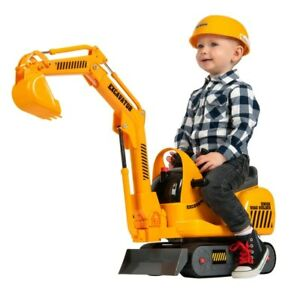 Kids Micro Excavator & Hard Hat Outdoor Push Along Ride On Toddler Digger Toy 3+