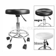 Negro / Blanco Silla Cuero Sintético Taburete Ajustable Giratorio Peluquería Spa