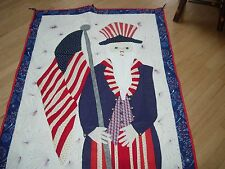 "HAND CRAFTED QUILTED UNCLE SAM WALL HANGING--38"" WIDE X 90"" LONG--#A4"