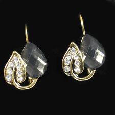 Orecchini a forma di cuore cristallo simil oro antico -farbig strass fumo grigio