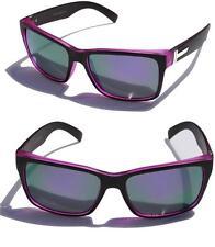 Large Men Matte Square Retro Sunglasses Black Purple Mirror lens 150mm Wide