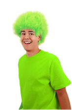 Neon Fuzzy Lime GREEN Cartoon Costume WIG anime cosplay clown monster pixie 80s