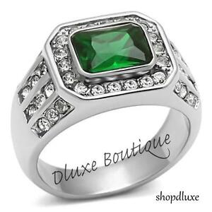 MEN'S 3.45 CT EMERALD CUT GREEN EMERALD CZ SILVER STAINLESS STEEL RING SIZE 8-14