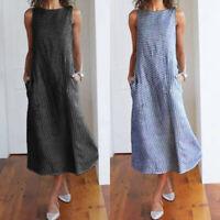 Women Casual Striped Sleeveless Dress Crew Neck Linen Pocket Fashion Long Dress