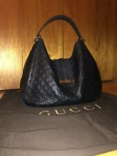 Authentic GUCCI Guccissima Large Black Leather Hobo Bag
