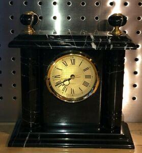 Black Marble Clock - Beautiful Natural Stone Desk Mantle Mantel Shelf, MUST SEE!