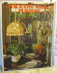 Vintage 1977 MACRAME With A Purpose Pattern Book Planters Wall Hangings Lamp