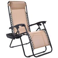 Zero Gravity Chair Recliner Folding Patio Outdoor Furniture Camping Lounge Beige