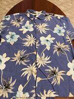 TOMMY BAHAMA 100% Silk Hawaiian Aloha Flower Mens S/S Button Down Shirt Large L