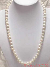 """20"""" 8-9mm Genuine white akoya pearl necklace 14K Gold Clasp"""