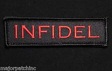 INFIDEL USA ARMY MORALE ROCKER TAB BLACK OPS RED VELCRO® BRAND FASTENER PATCH