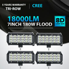 4X 7inch 180W CREE LED Flood Beam Work Light Bar Offroad 4WD SUV Jeep Boat 36W