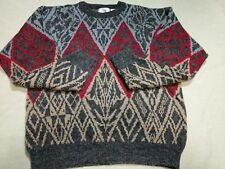 "Vtg Mens Sweater ""The Men's Store"" Sears Gray Red Crew Neck Geometric Acrylic Lg"