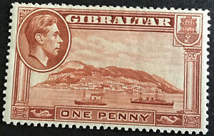Gibraltar George VI 1d Yellow Brown SG122 Heavily Mounted Mint C/V £30 In 2018.