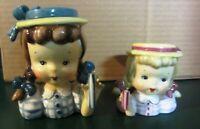 Vintage Napco Head Vase Girl with Pigtails  set of