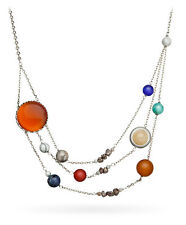 """Solar Orbit Necklace Original: Brass plated 21"""" total chain length"""
