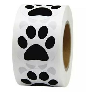 DOG PAW STICKERS LABELS ANIMAL PAW PAPER BLACK