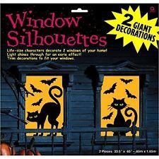2 Giant Gato y murciélagos Siluetas-Halloween Fiesta decoraciones de ventana