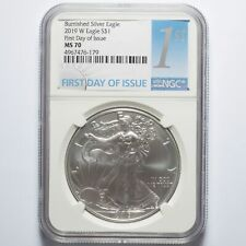 2019-W Silver American Eagle Burnished NGC MS70 First Day of Issue